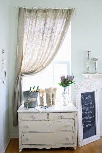 love the vintage dresser and burlap curtain design inspiration in rh pinterest com