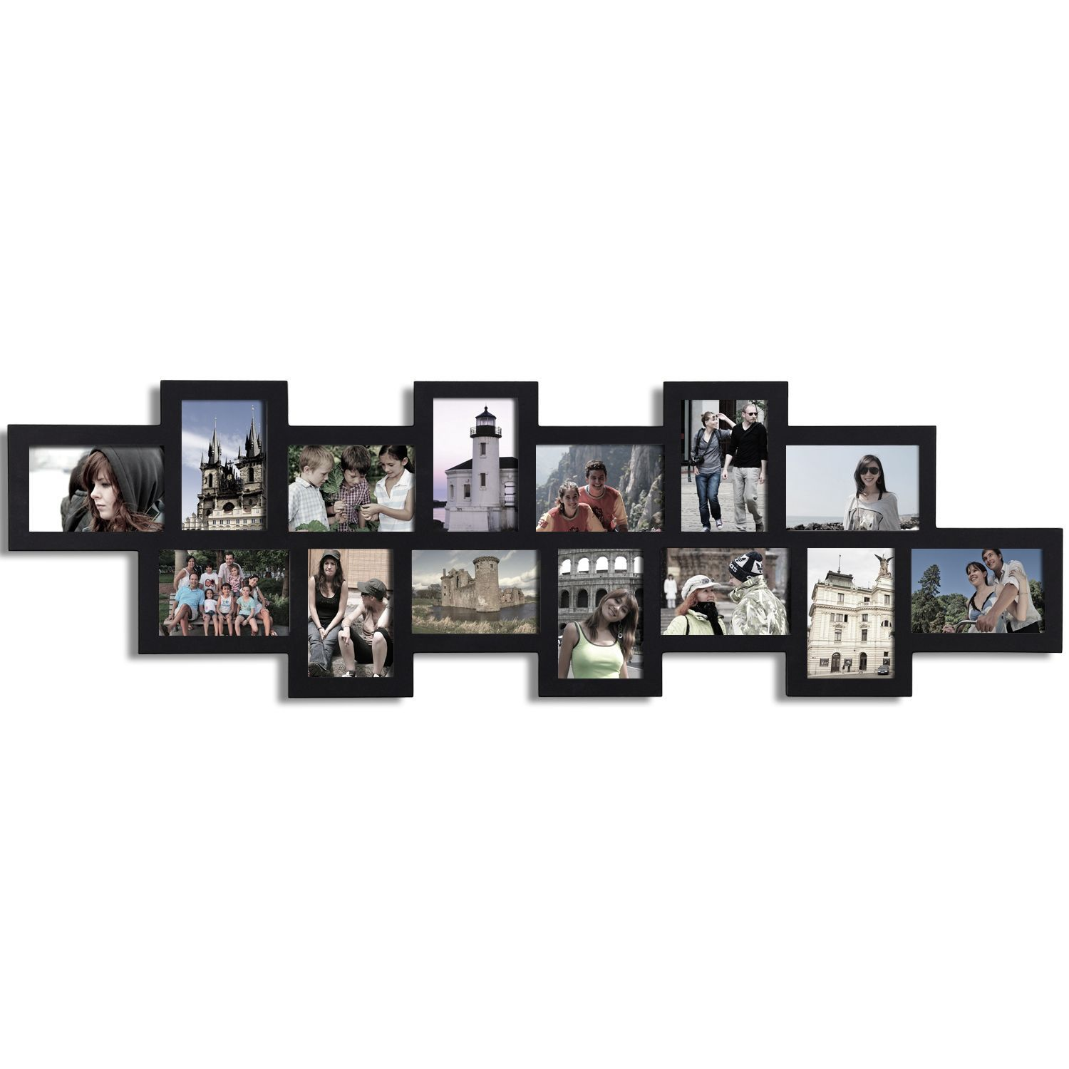 Adeco Decorative Black Wood Alternating Puzzle Collage Wall Hanging ...