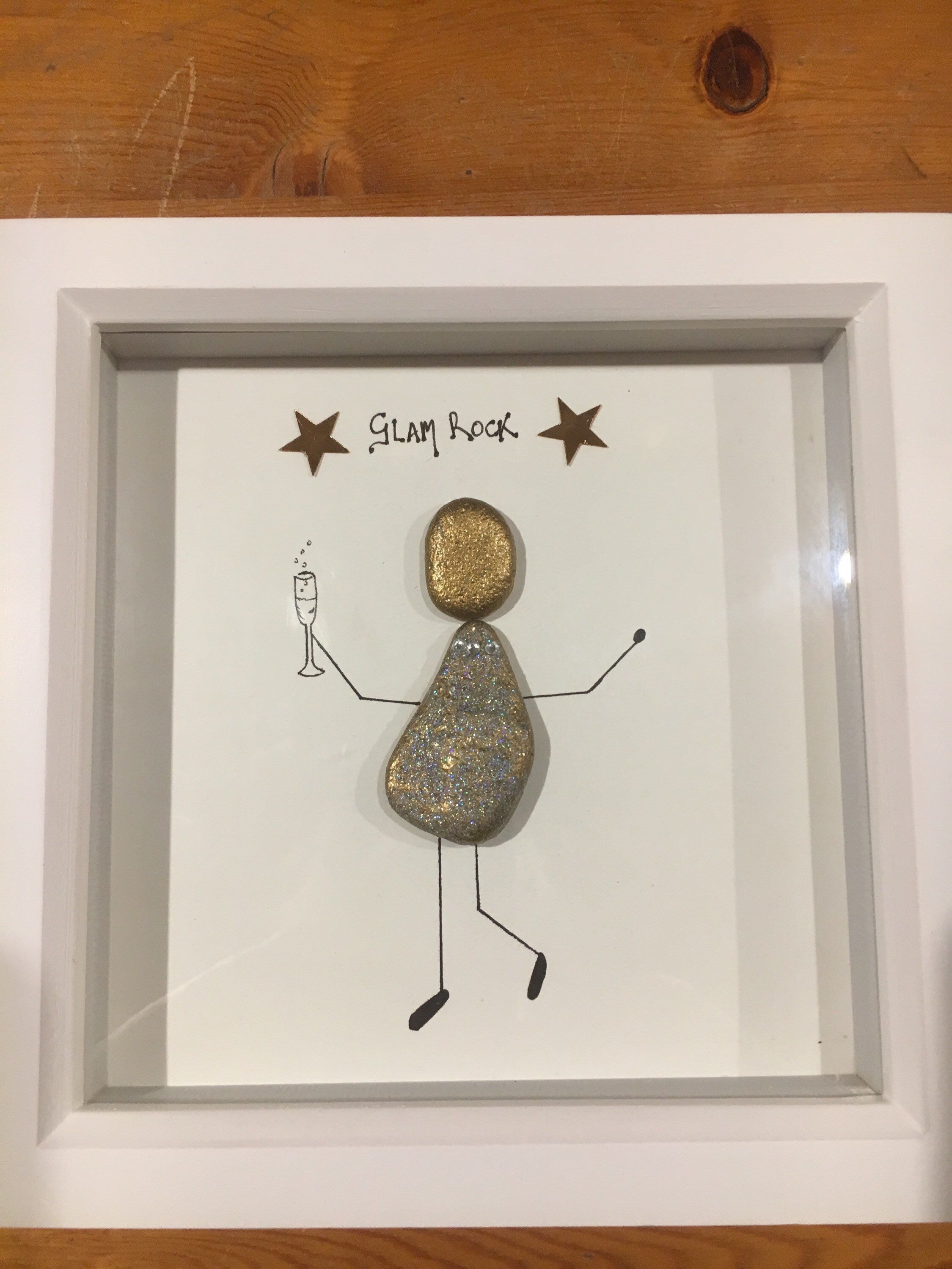 Pebble Picture Glam Rock One Lady Celebrating With Bubbly Great Birthday Pressie Etsy Mixedmedia White Birt Pebble Art Pebble Art Family Pebble Pictures