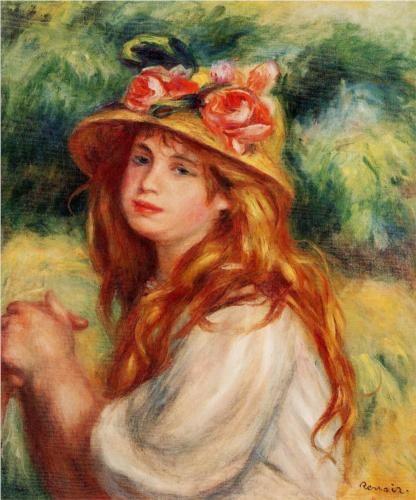 Blond in a Straw Hat(Seated Girl) - Pierre-Auguste Renoir