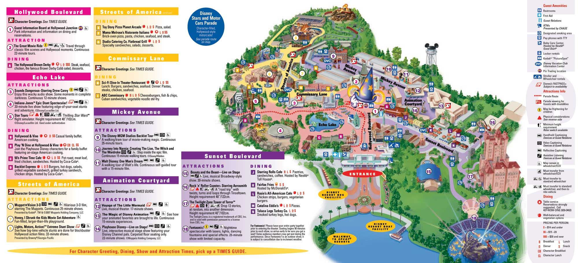 Hollywood Studios / MGM Studios Orlando 2012 Map | Disney World in on