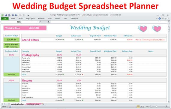 Wedding Budget Spreadsheet  Wedding Planner Excel Budget Template