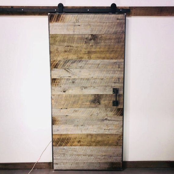 Reclaimed Barn Wood Door With Steel Frame And Hardware By