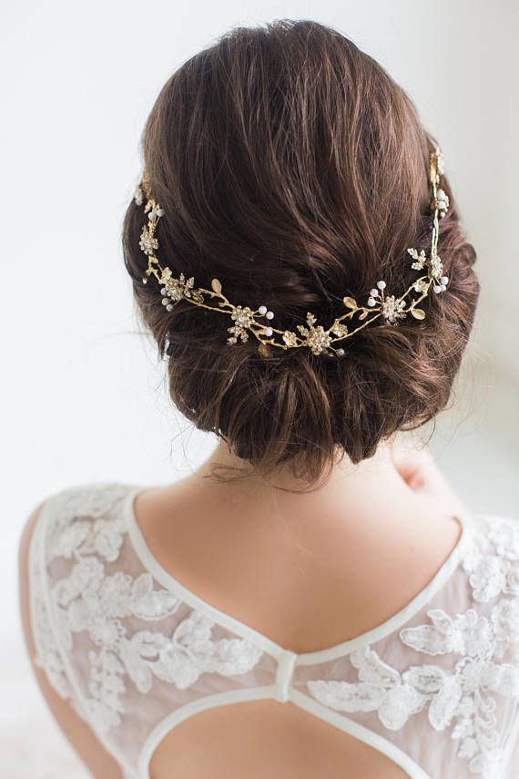 Gold Bridal Hair Vine Gold Wedding Headpiece Rose Gold Wedding
