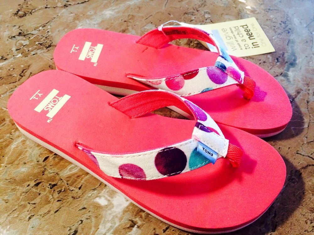 6714d375366 kids shoes TOMS Verano thong Flip Flops canvas polka dot pink confetti SZ 1  new  TOMS  Elegant