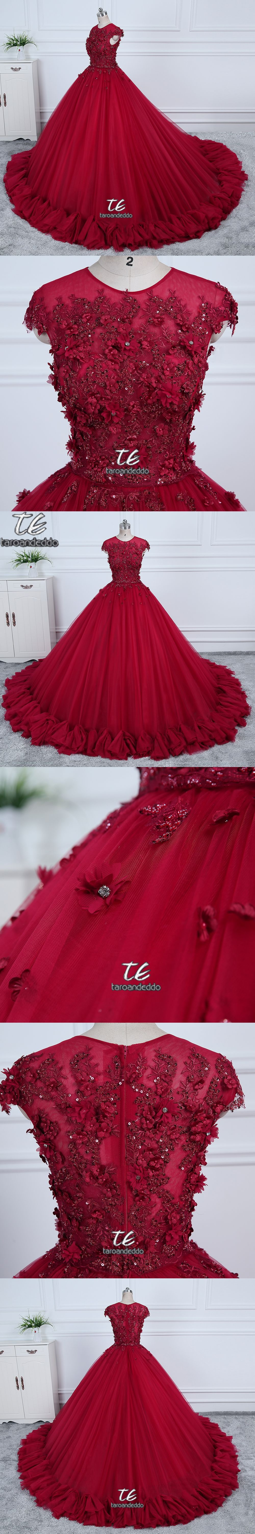 2018 O-neck Ball Gowns Burgundy Wedding Dress with Color 3D Flowers Applique  with Rhinestones a2a73a591649