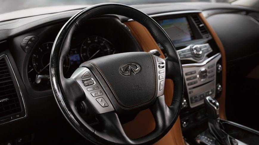 2019 Infiniti Qx80 Luxe Interior Steering Wheel With Audio Controls Infiniti Usa Luxury Suv Suv