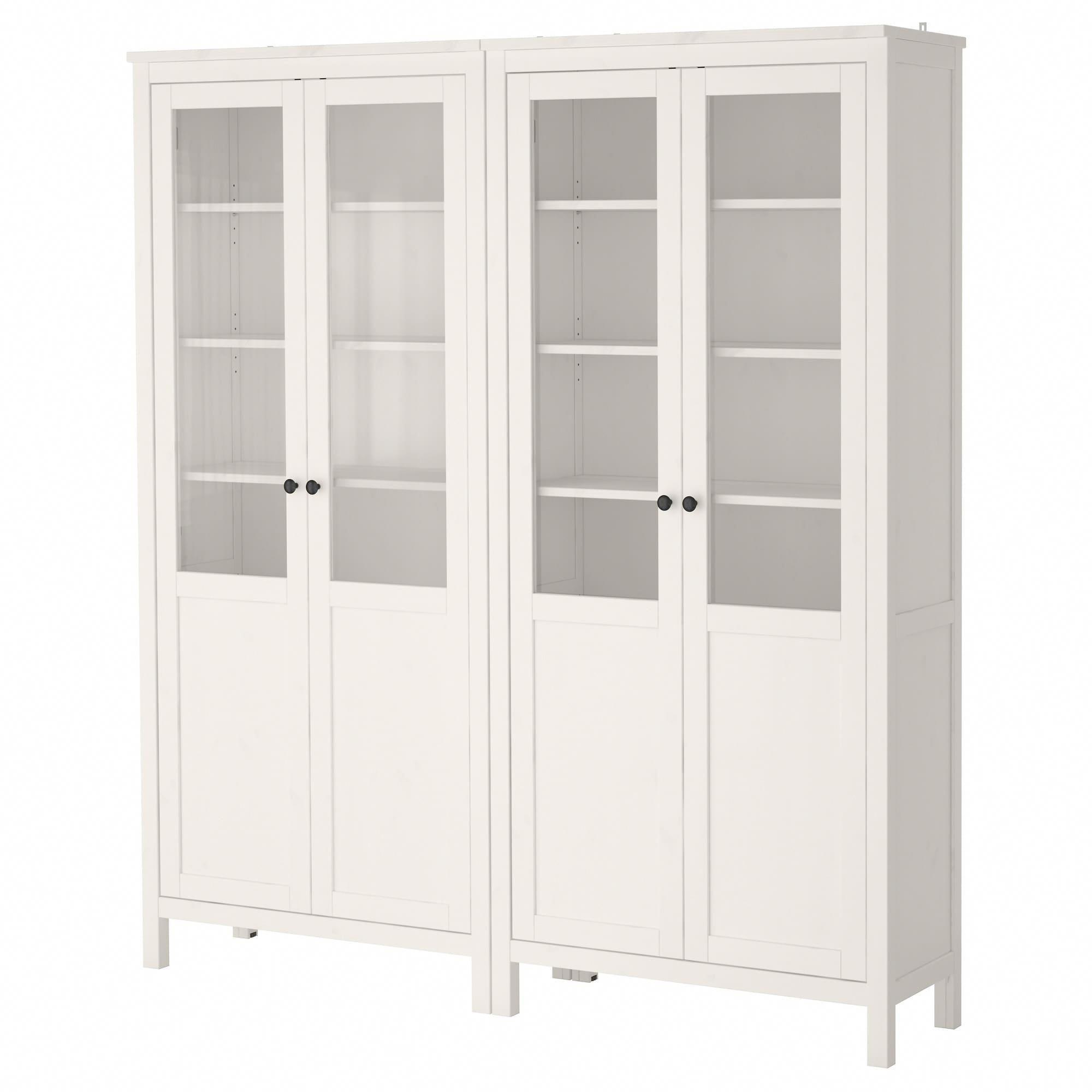 Ikea Hemnes Storage Combination W Gl Doors White Stain