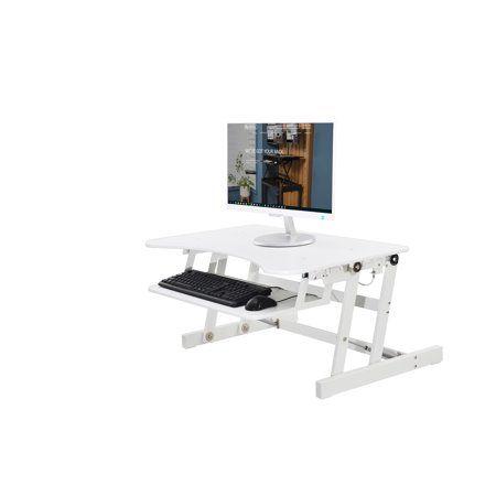 Rocelco 32 Height Adjustable Standing Desk Converter Sit Stand Computer Workstation Riser Dual Monitor Retractable Keyboard Desk Riser Standing Desk