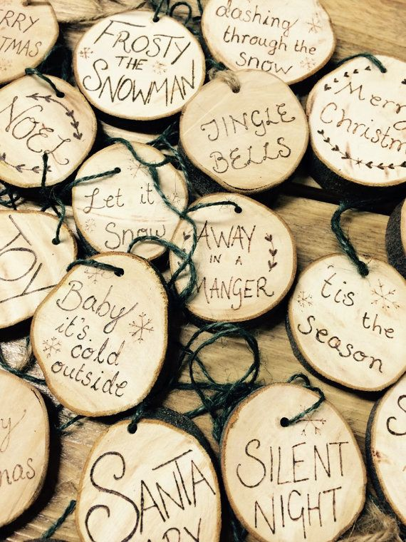 Rustic wood slice Christmas ornament - hand made tree bark pyrography burned decoration by RockeryCottage