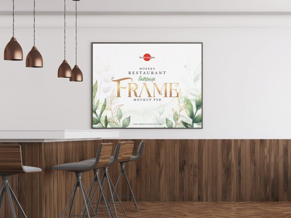 Feel Free To Add This Restaurant Interior Frame Psd Mockup Template To Your Freebies Collection Right Now This Is An Ideal Choice For Showcasing Your Artworks
