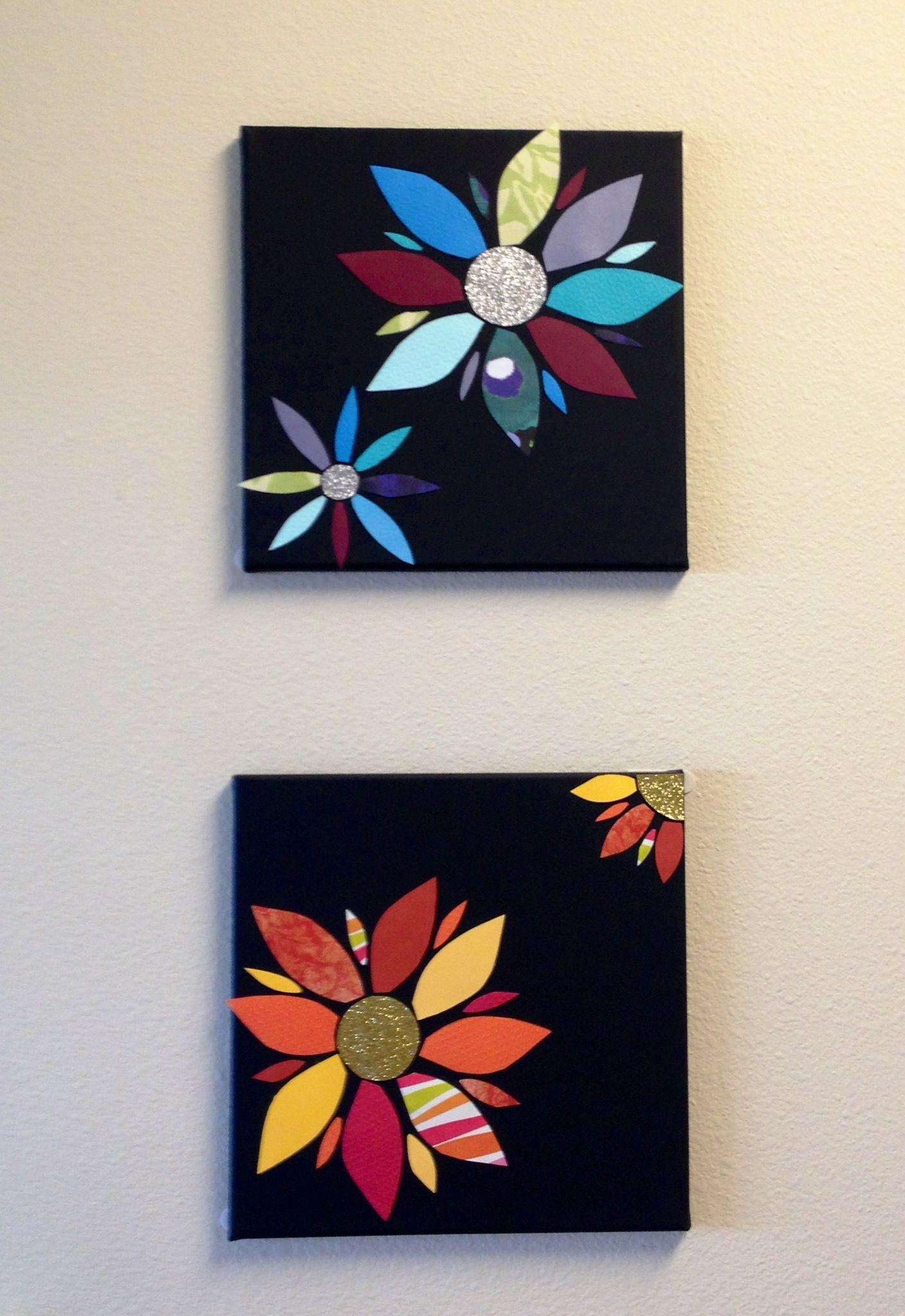Scrapbook paper craft ideas - Scrapbook Paper Flowers On Canvas Board