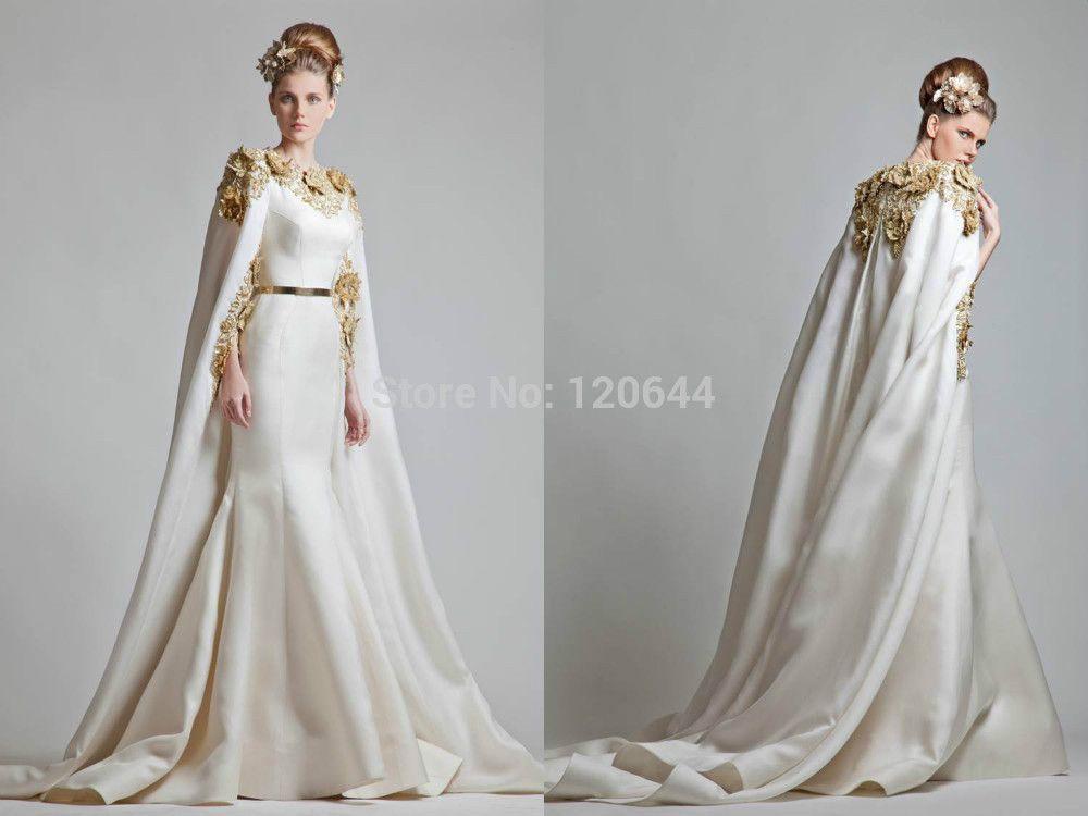 2014 glod flower mermaid kaftan bridal dress made in china long ...