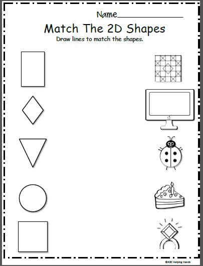 Free Shapes Math Worksheet Matching Madebyteachers Shapes Worksheets Shape Worksheets For Preschool Kindergarten Worksheets Printable