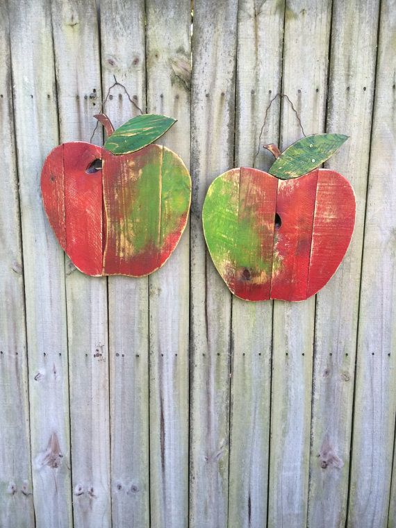 Photo of Legno di rustico rigenerata pallet Apple – wall decor, autunno, autunno, torna a scuola, decorazione del giardino, decorazione domestica, autunno porta appendiabiti