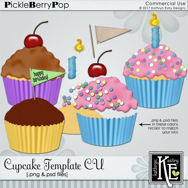 Cupcake CU  Digital Scrapbooking Supplies by Kathryn Estry @ PickleberryPop   $3.99