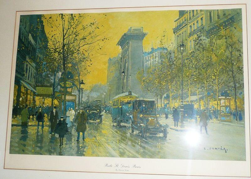 Porte St. Denis, Paris, signed by E. Cortes