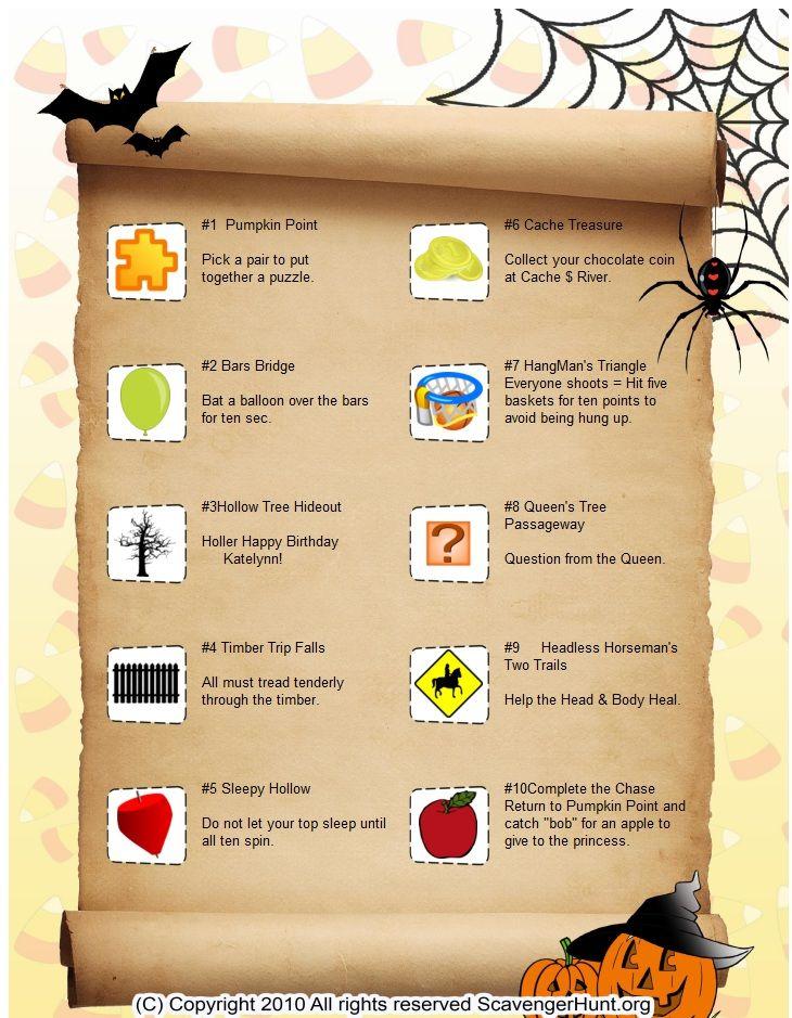 The Great Pumpkin Chasescavenger hunt list Halloween