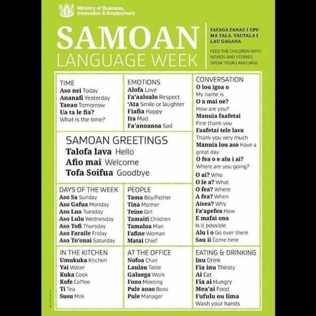 SAMOAN Language Week   New things to learn, Words, Language