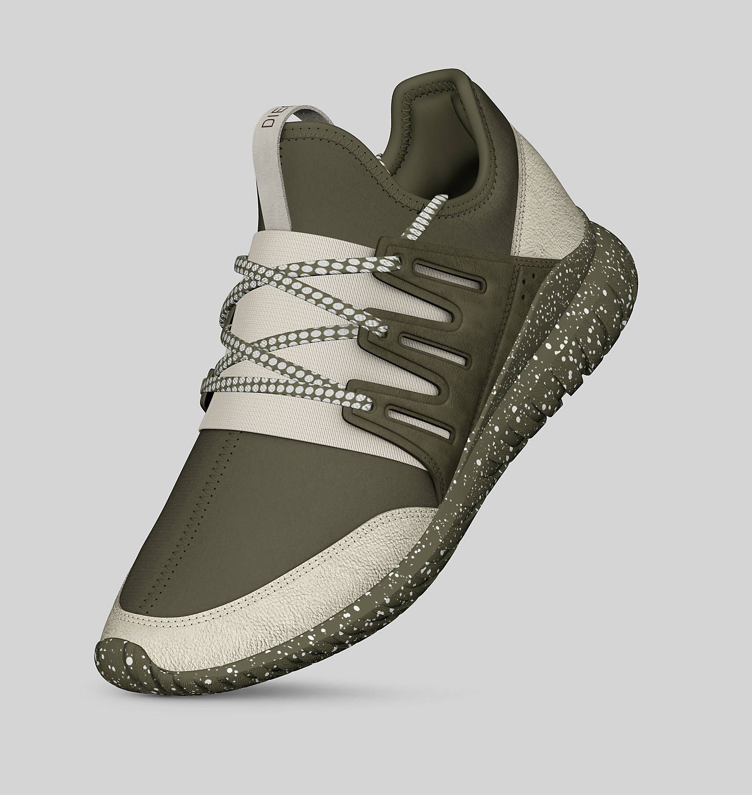 Adidas Tubular off white and olive green custom sneaker