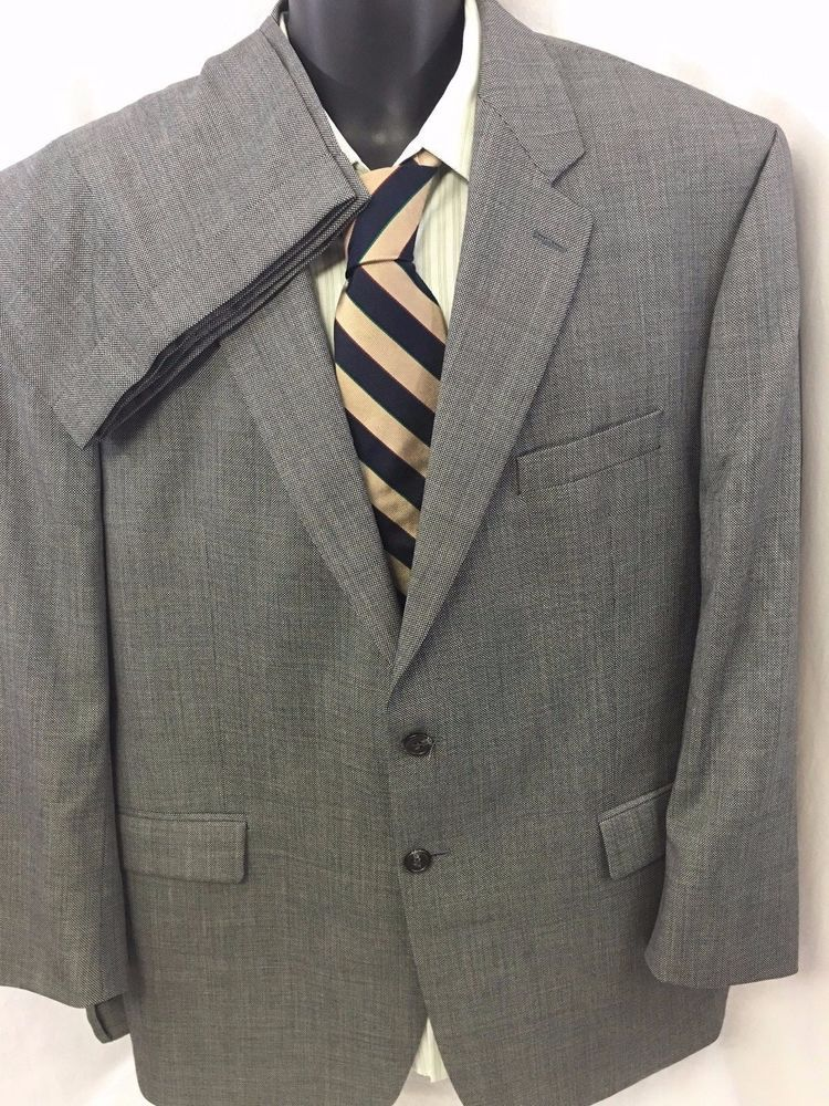2PC LAUREN Ralph Lauren Suit Herringbone 48R Gray Wool Sport Coat Dress Slacks #LaurenRalphLauren #TwoButton