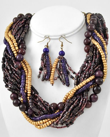 Burnished Gold Tone / Purple & Gold / Wood & Seed Beads / Lead Compliant / Multi Strand / Necklace & Fish Hook Earring Set