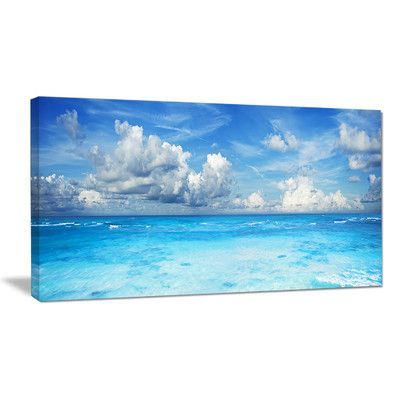 """DesignArt Bright Blue Waters and Sky Panorama Photographic Print on Wrapped Canvas Size: 20"""" H x 40"""" W x 1"""" D"""