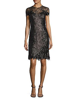 RENE RUIZ Sequin Lace Sheath Dress
