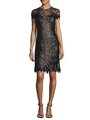 RENE RUIZ Sequin Lace Sheath Dress