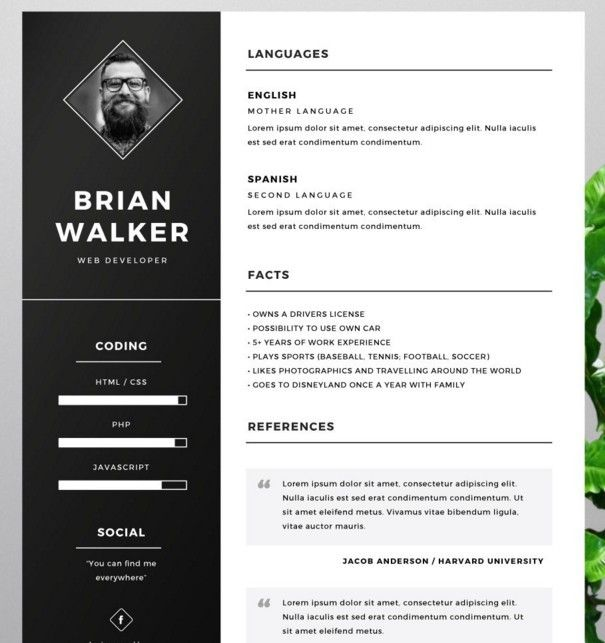 Illustrator Resume Templates Free Resume Template For Word Photoshop & Illustrator  Cv's