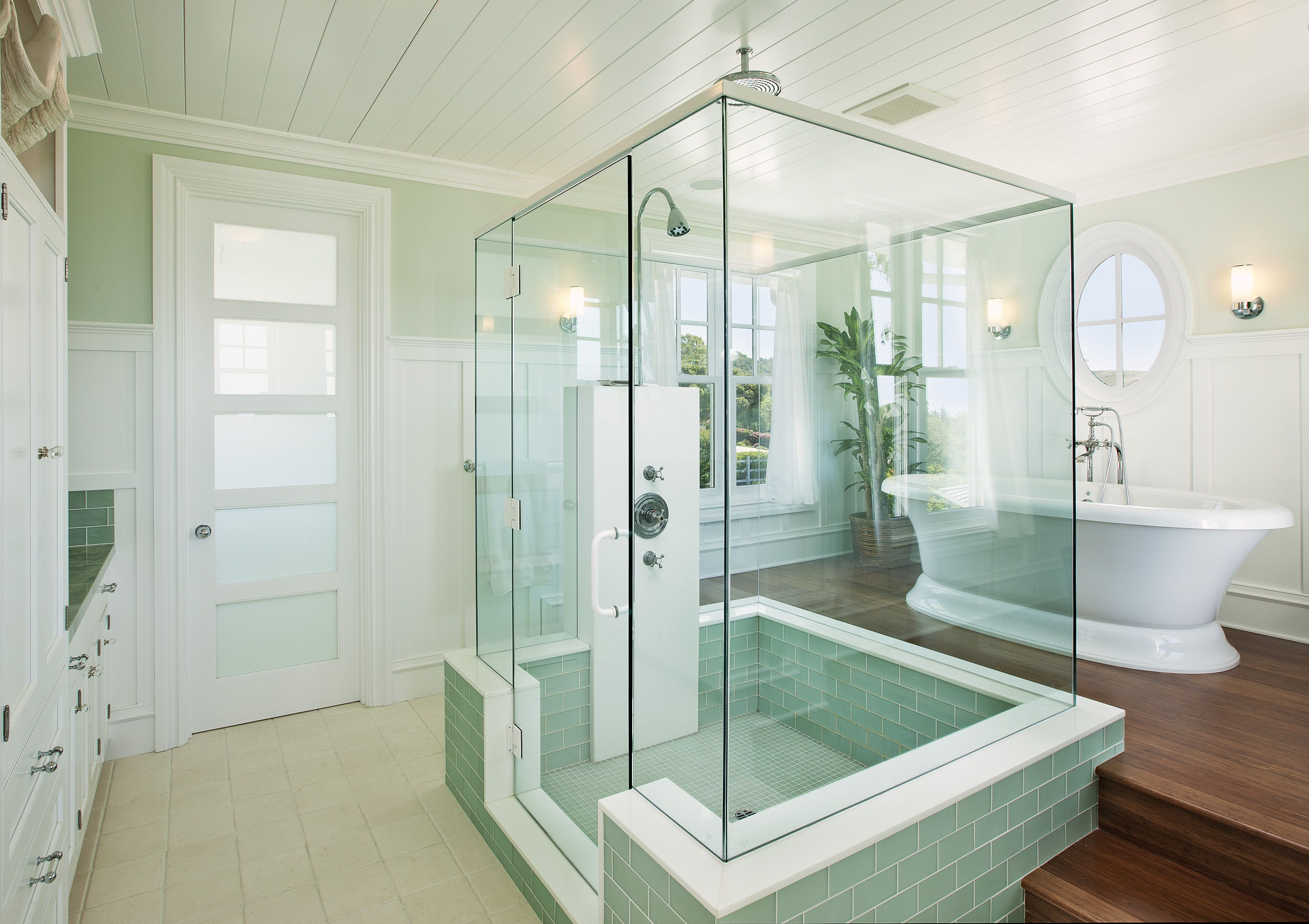 Sunlight From All Angles In This Glass Enclosed Shower With