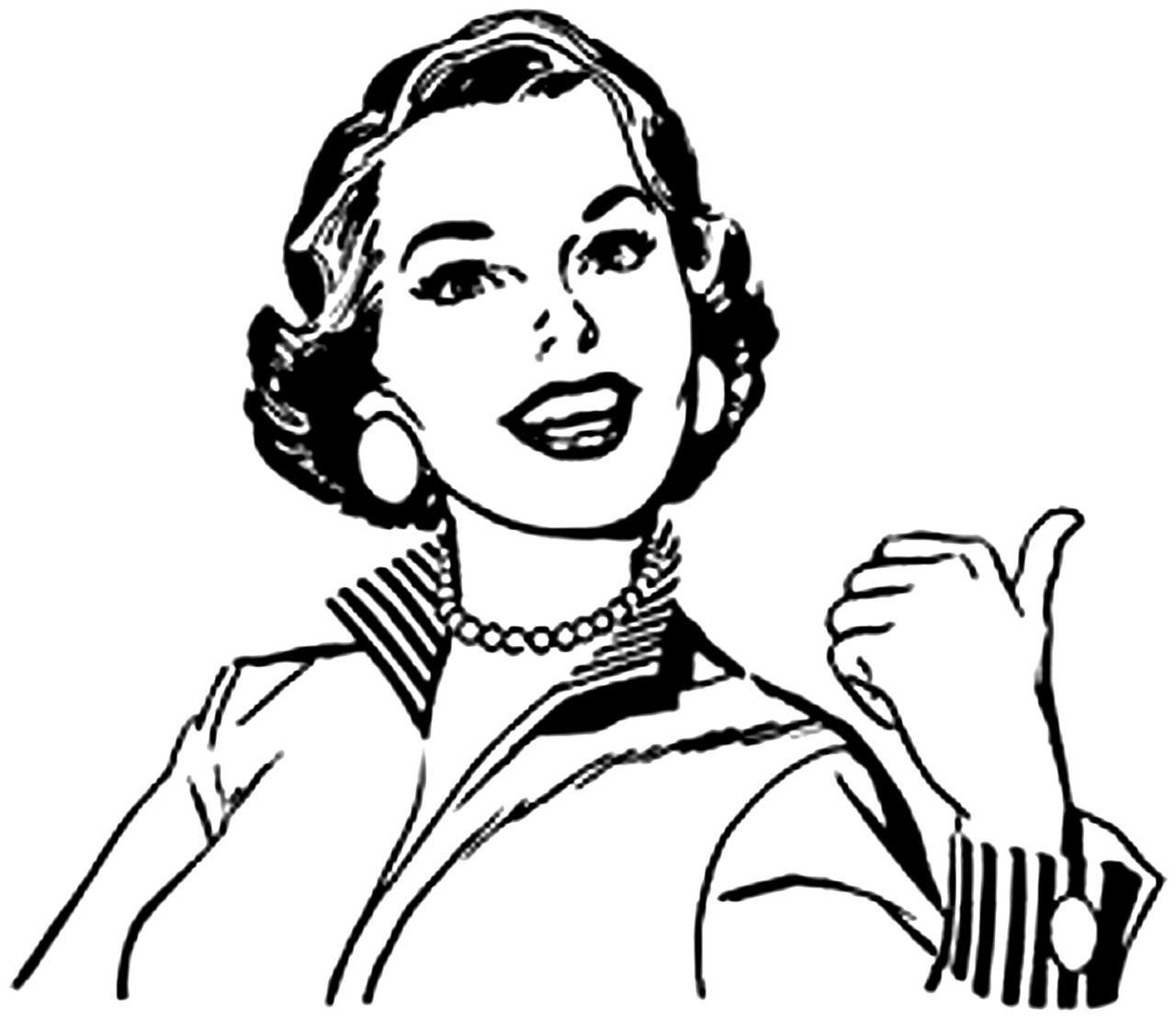 Free Image On Pixabay Retro Line Art Drawing Woman Line Art Vintage Illustration Art