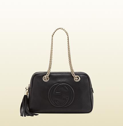0c6cb6d4ba32cc soho black leather shoulder bag with double chain s ... | Flawless ...