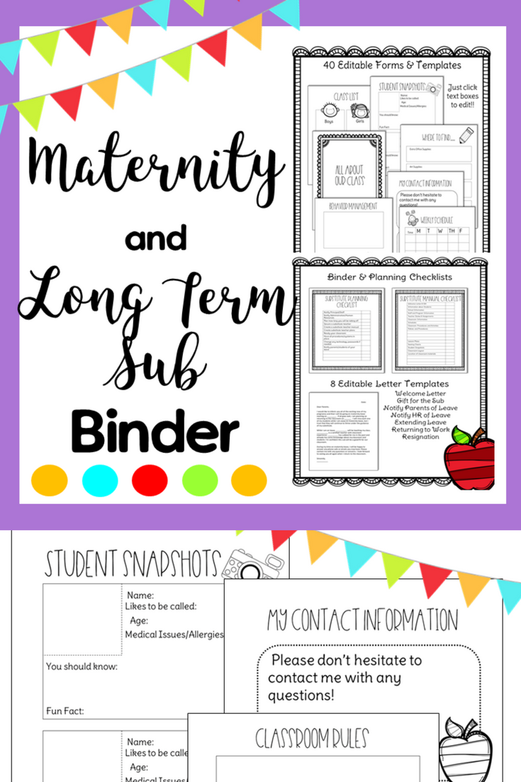 Maternity And Long Term Sub Binder  Letter Templates Binder And