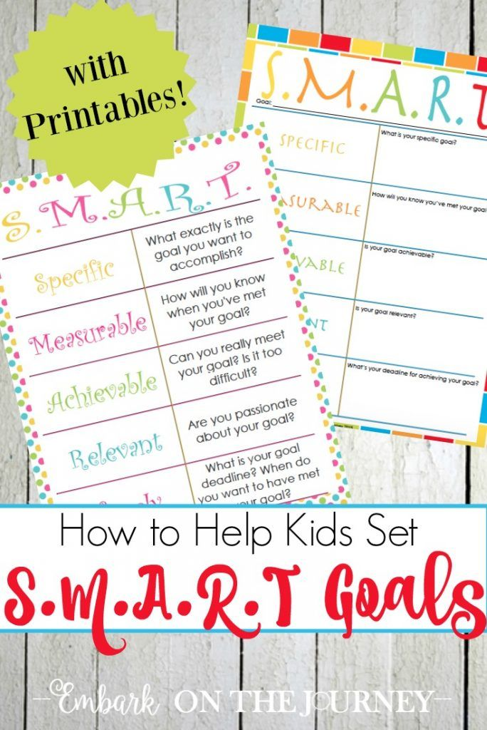 Free SMART Goal Printables for Kids (With images) Smart