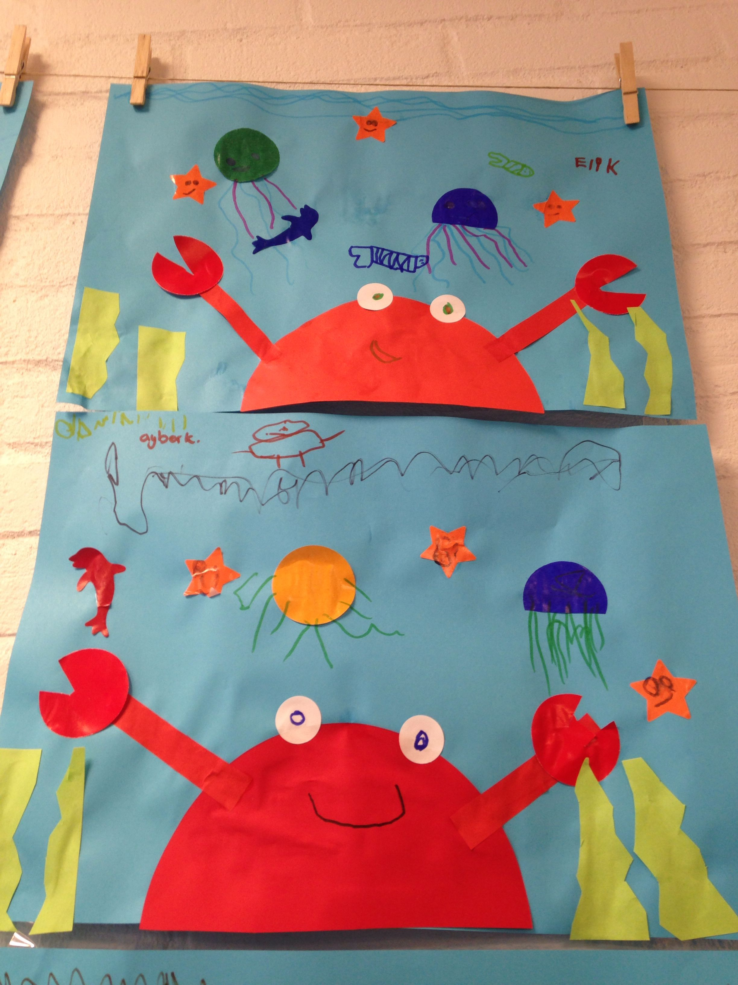 New Zee, dieren, onder water, krab, knutselen, kleuters | thema @NX28