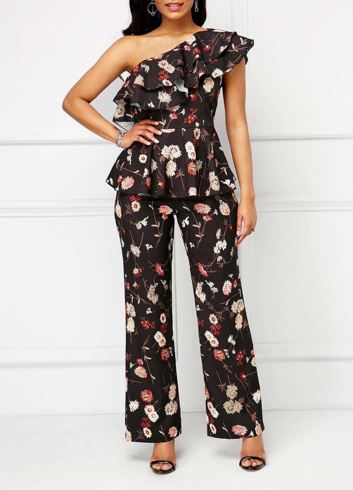 c0504e44678235 Floral Print One Shoulder Top and Pants