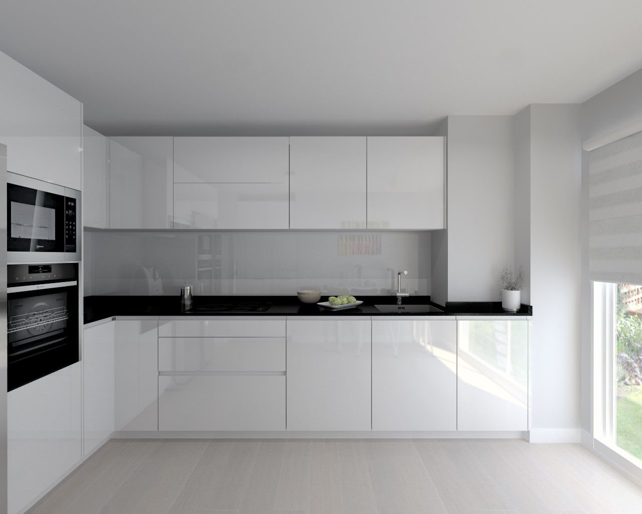 Cocina santos modelo line laminado blanco brillo encimera - Encimera granito blanco ...