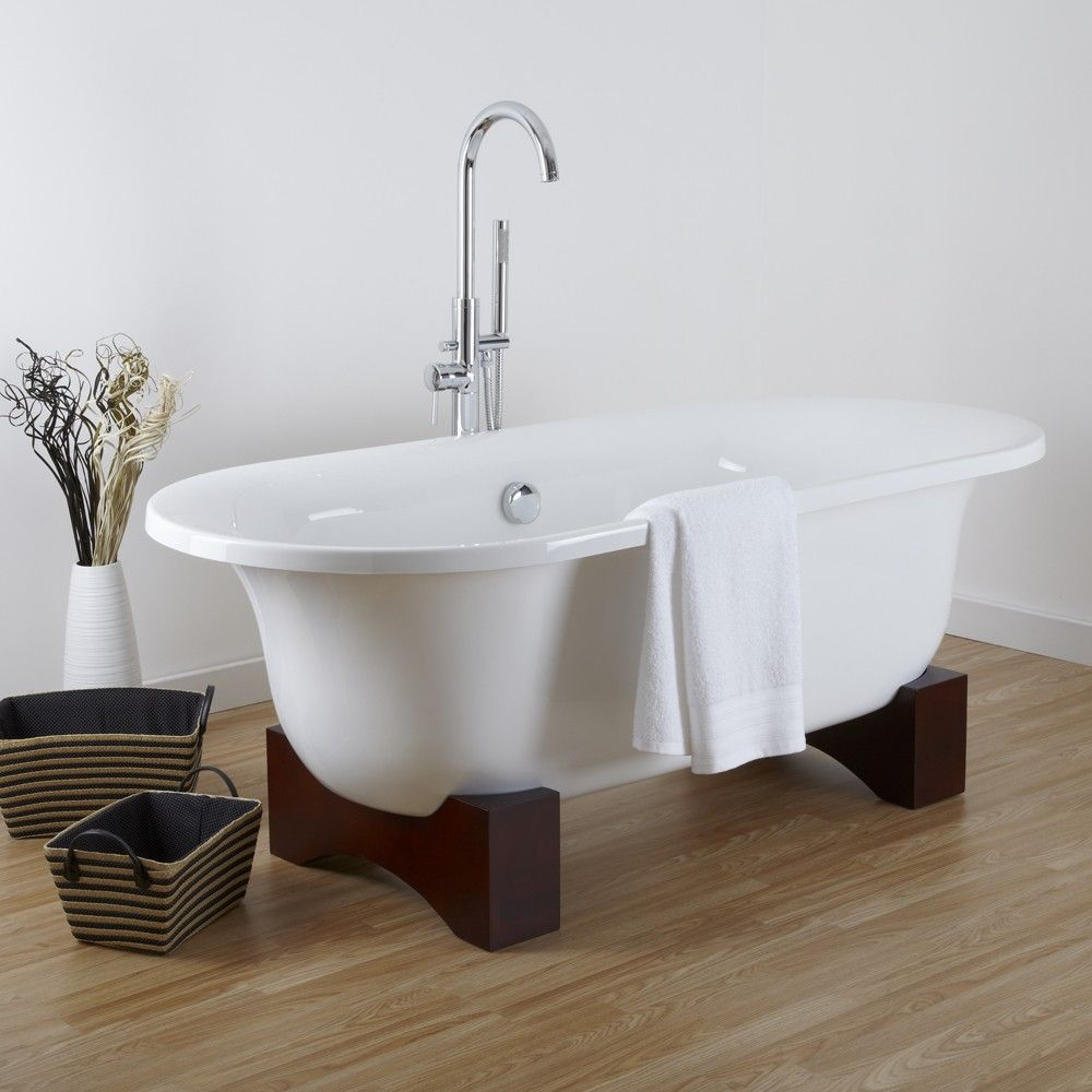 Oval Roll Top Freestanding Tub With Wooden Feet 70 Bain