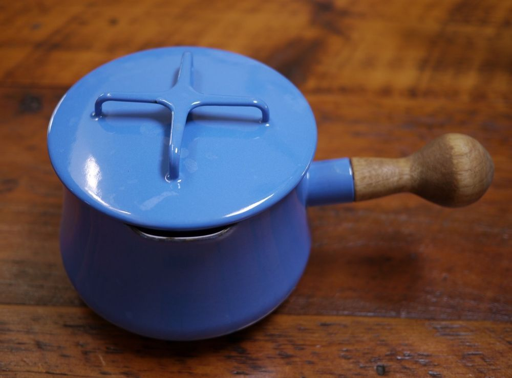 Vtg Dansk Kobenstyle Quistgaard Blue Enamel Teak Small Butter Sauce Pan w/ Lid