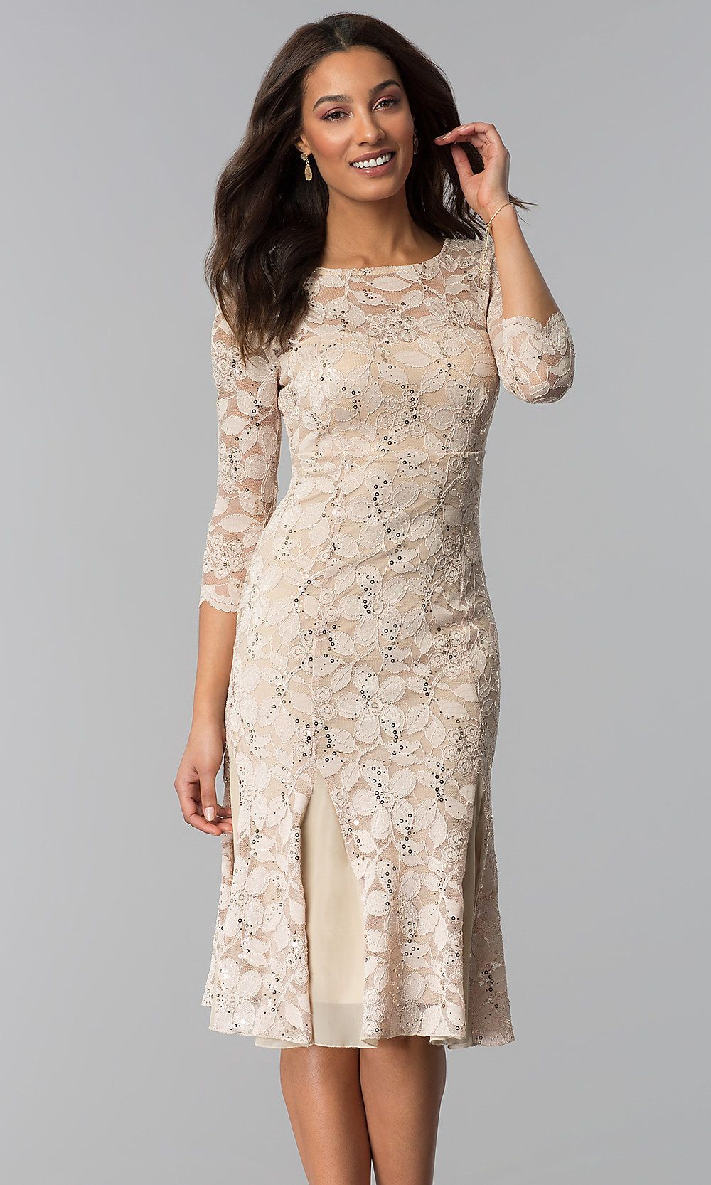 f25edfed22e Scoop-Neck Lace Wedding-Guest Dress with Sleeves in 2019 ...