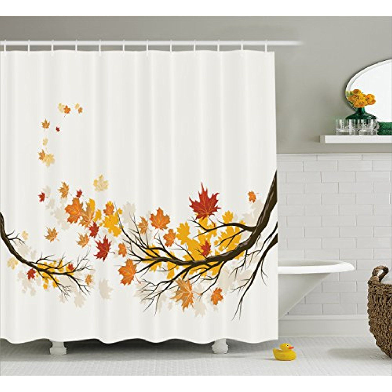 Fall Shower Curtain By Lunarable Seasonal Tree Branches With Pale Colors September Foliage Golden
