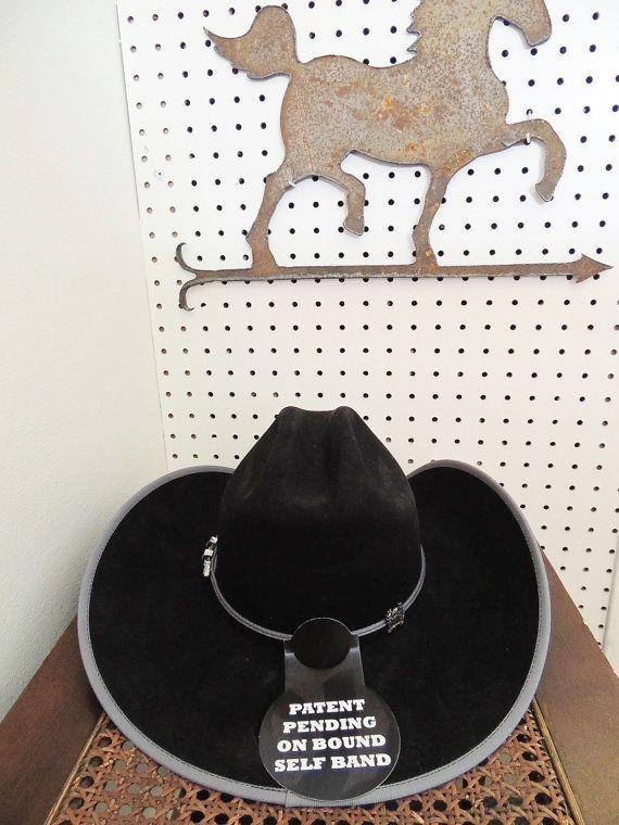 CINCH Felt Fur COWBOY Hat - New in Box Black w Grey Trim Size 7
