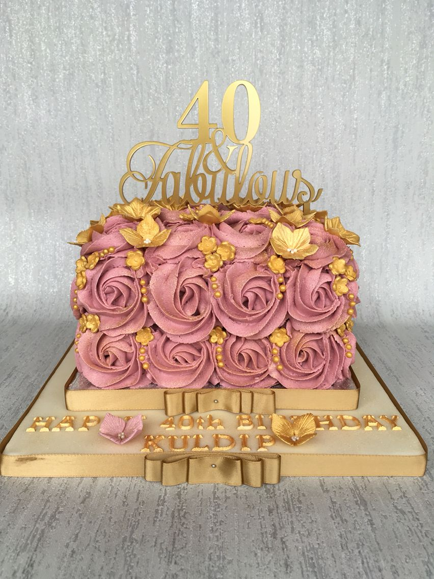 Amazing 40Th Birthday Cake Deep Pink Buttercream Rose Swirls With Gold Funny Birthday Cards Online Alyptdamsfinfo