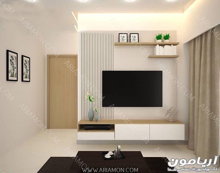 میز تلویزیون سفید دیواری Living Room Tv Unit Designs Tv Room Design Small Living Room Design