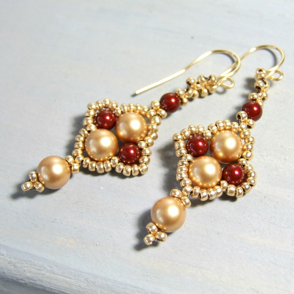 Gold & Burgundy Red Boho Pearl Earrings - Iris Elm Jewelry: Unique boho dangle earrings that are beaded with burgundy red and gold Swarovski pearls as well as gold ...