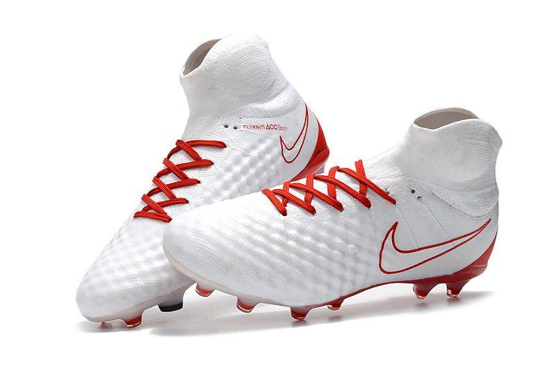 new arrival 6034d 5be85 Nuevas 2017 Zapatos de Futbol Nike Magista Obra II FG - Blanco Rojo