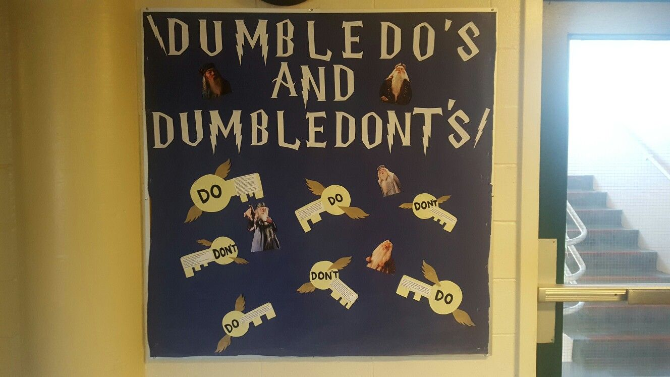 RA Bulletin Board: Passive program about study tips. The dumbledo's and dumbledon'ts of studying. And the harry potter keys to successful studying in university #rabulletinboards