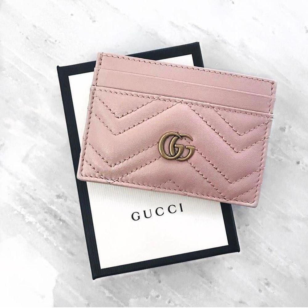 premium selection 8a448 2f86d NWT GUCCI Authentic Women Pink GG Marmont Matelassé Leather Card ...