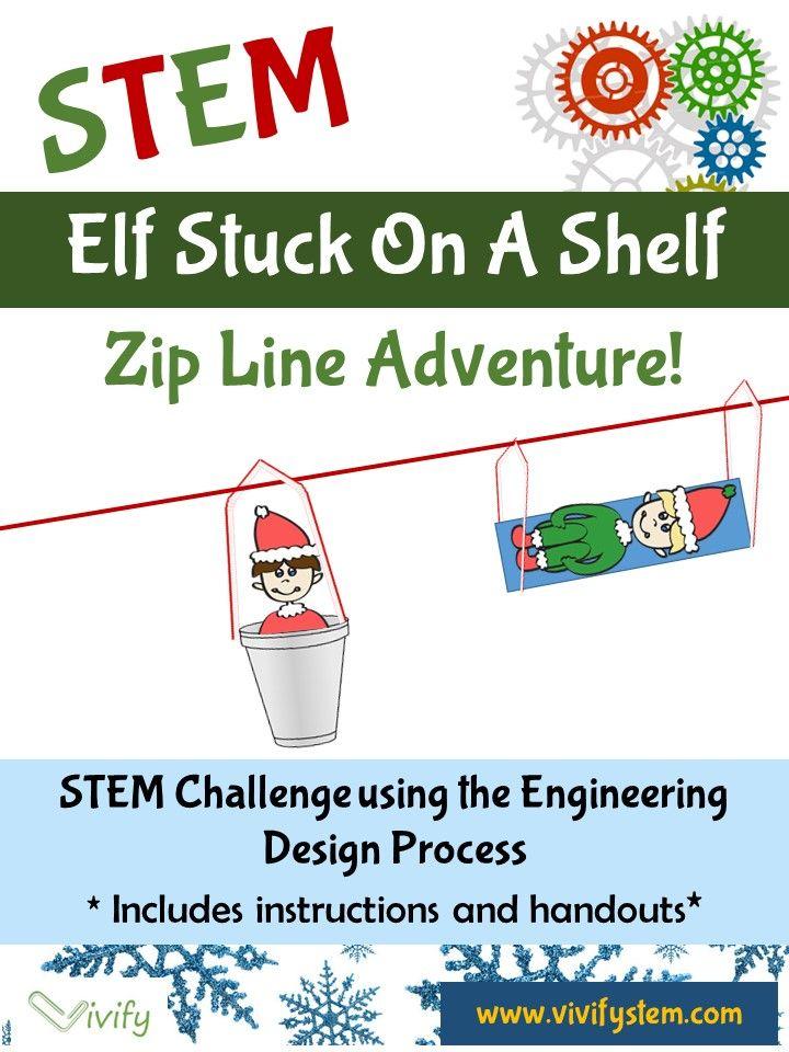 Christmas Stem Challenges.Stem Christmas Challenge Elf Stuck On The Shelf Zip Line